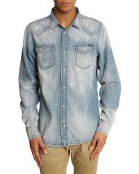 Diesel Sonora Light Blue Used Denim Shirt blue - Lyst