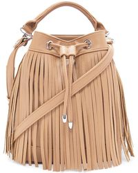 Forever 21 Fringed Faux Leather Bucket Bag - Natural