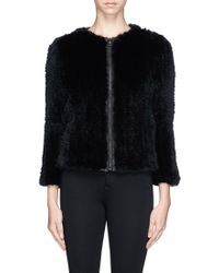 Alice + Olivia 'Duncan' Leather Placket Fur Jacket - Lyst