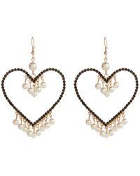 River Island Black Diamante Heart Dangle Earrings - Lyst