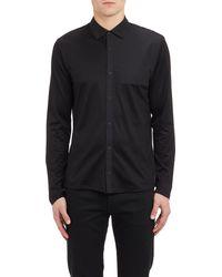 T By Alexander Wang Black Poplin-insert Shirt - Lyst