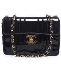 Chanel Pre-owned Black Patent Leather Vertical Stripe Jumbo Single Flap Bag - Lyst
