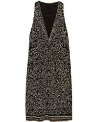Roberto Cavalli Embellished Silkgeorgette Mini Dress - Lyst