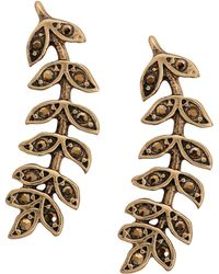 Lucky Brand Crystal-accented Leaf Crawler Earrings - Metallic