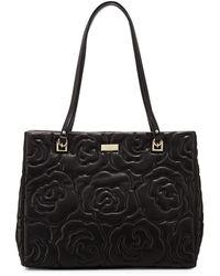 Kate Spade Sedgwick Lane Rose Phoebe Tote Bag Black - Lyst