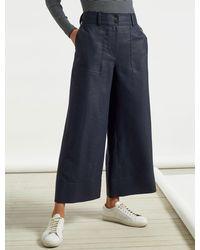 Cefinn Tate High Easy Waist Wide Leg Utility Style Cropped Trouser - Blue