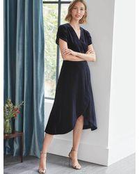 Cefinn Layla Tulip Sleeve Cross Over Velvet Dress - Blue