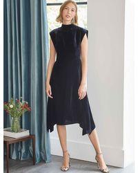 Cefinn Allegra Velvet Asymmetric Hem Midi Dress - Blue
