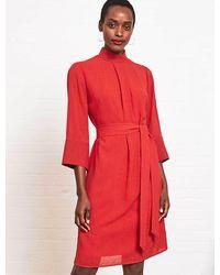 Cefinn Ada Funnel Neck Knee Length Dress - Red