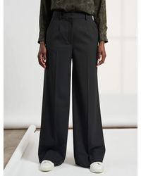 Cefinn Whitney Wide Leg Wool Blend Trouser - Black