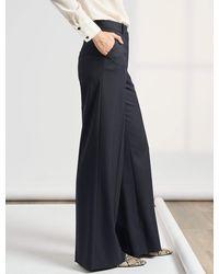 Cefinn Whitney Wide Leg Wool Blend Trouser - Blue