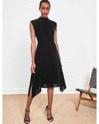 Cefinn Allegra Velvet Asymmetric Hem Midi Dress - Black