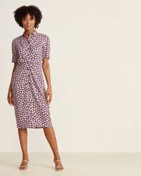 Kate Spade Deep Pansy Sunny Bloom Shirt Dress - Pink