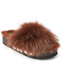 Suecomma Bonnie - Brown Pearl Embellished Real Fur Slide Sandals - Lyst