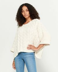 Pol Cable Knit Dolman Sleeve Sweater - Natural