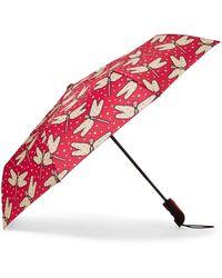 Mia Toro Auto Open Dragonflies Umbrella - Red