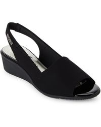 Anne Klein - Black Jaye Slingback Wedge Sandals - Lyst