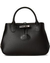 Longchamp Black Roseau Leather Satchel