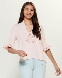 Amanda Uprichard Harriet Bell Sleeve Top - Pink