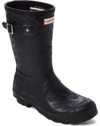 HUNTER - Black Original Water Texture Short Rain Boots - Lyst