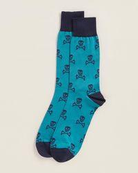 Thomas Pink Hexham Skull Print Socks - Blue
