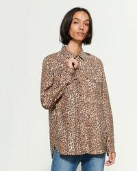 Jessica Simpson Petunia Leopard Long Sleeve Sport Shirt - Brown