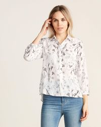 Sioni Floral Print Long Sleeve Fly Front Top - Multicolor