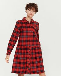 Le Mont St Michel Flannel Pocket Shirtdress - Red