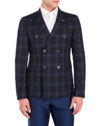 Sand - Navy Plaid Double-Breasted Wool Sport Coat - Lyst
