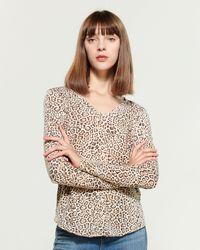 William Rast Candace Cheetah Long Sleeve Tee - Multicolor