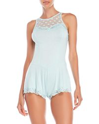 8d49af3f04a Betsey Johnson - Dot Lace Sleep Romper - Lyst
