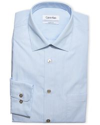 CALVIN KLEIN 205W39NYC - Light Blue Striped Poplin Dress Shirt - Lyst