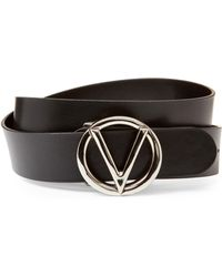 Valentino By Mario Valentino Black Giusy Leather Belt