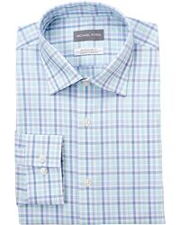 Michael Kors - Pool Blue Plaid Dress Shirt - Lyst