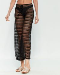 Jordan Taylor Black Crochet Wide Leg Swim Cover-up Pants