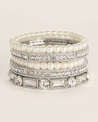 Natasha Couture 5-piece Silver-tone Embellished Bracelets - Metallic