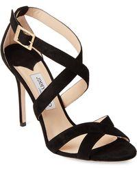6742242fa907 Lyst - Jimmy Choo Dark Wine Flora Crisscross Peep Toe Shoes in Red