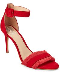 Vince Camuto - Cherry Red Joshina Fringed High Heel Sandals - Lyst