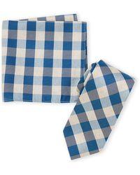 Nautica Fairlead Stripe Tie & Pocket Square Set - Blue