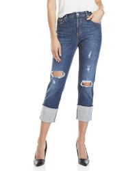 Ottod'Ame - Distressed Cuffed Jeans - Lyst