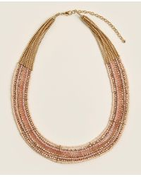 Catherine Stein Gold-tone & Mauve Beaded Necklace - Metallic