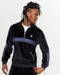 Crooks and Castles Corded Velour Track Jacket - Blue