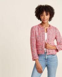 Kate Spade Hibiscus Tea Multi Tweed Blazer - Pink