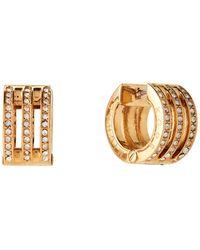 Michael Kors - Gold-tone Pave Logo Huggie Hoop Earrings - Lyst