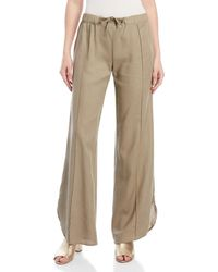 4our Dreamers - Drawstring Wide Leg Linen Pants - Lyst