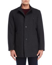 Tommy Hilfiger - Charcoal Birch Stand Collar Coat - Lyst