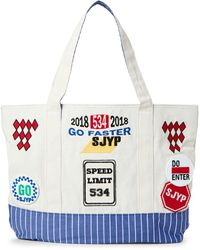 SJYP Ivory Patch Canvas Tote - White