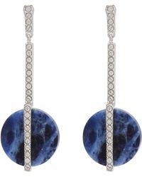 Swarovski - Silver-tone & Blue Disk Drop Earrings - Lyst
