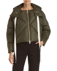 AVN - Olive Hooded Diamond Quilted Cropped Down Coat - Lyst