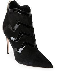Aperlai - Black Zigzag Pointed Toe Ankle Booties - Lyst